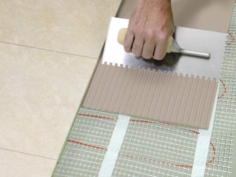 Укладка плитки на кабельный теплый пол