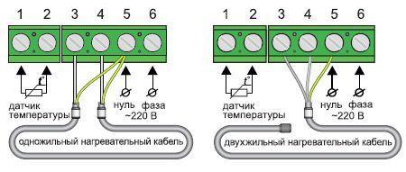 Схема подключения одно- и двухжильного нагревательного кабеля