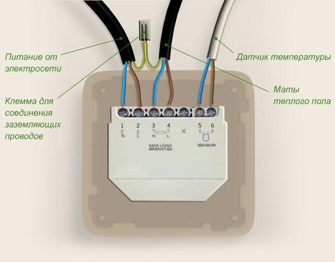 Установка и подключение терморегулятора теплого пола
