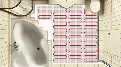 Схема укладки электрического теплого пола в ванной